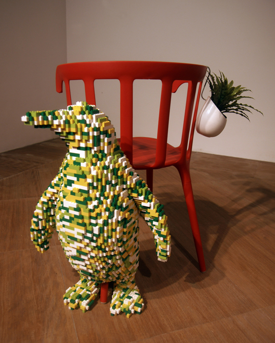 Upstairs Study – Penguin, 2014. Lego, Ikea chair and plant with hanger.