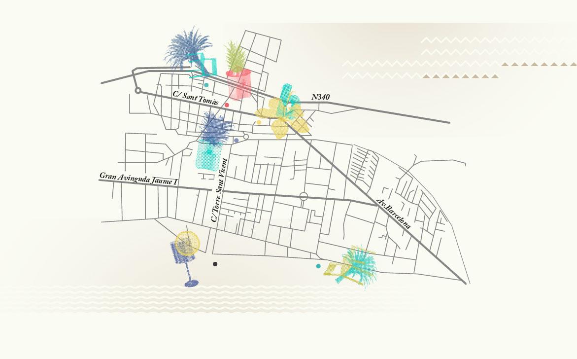 Mapa con sedes para el festival de diseño de Benicassim.
